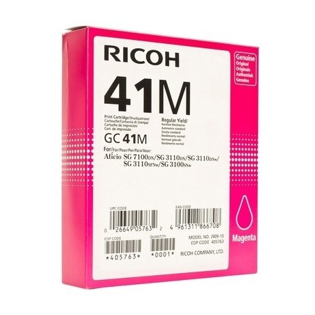 CART ENCRE GEL RICOH GC41K SG2100N3110DN3110DNW MAGENTA 600 PAGES