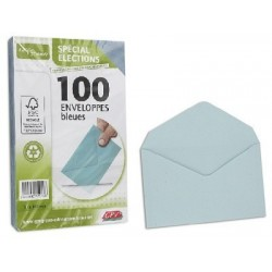 PAQ DE 100 ENV. ELECTION RECYCLE VELIN BLEU FT 90x140MM 75G