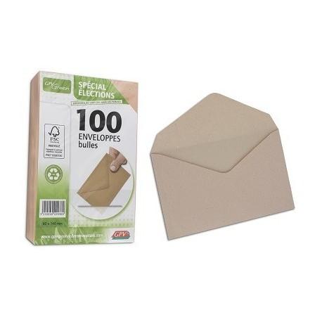 PAQ DE 100 ENV. ELECTION RECYCLE VELIN BULLE FT 90x140MM  75G