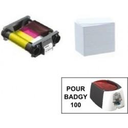PACK CONSOMMABLE 100 IMPRESSION POUR BADGY 100 (ruban couleur + cartes PVC épaisses)