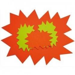 Paquet de 10 cartons fluo effaçable à sec jauneorange forme éclaté 24 x 32 cm