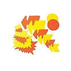 Paquet de 50 étiquettes pour point de vente en carton fluo jauneorange forme éclaté 8 x 12 cm