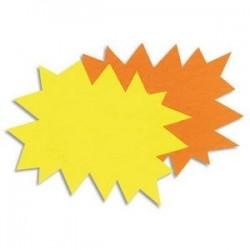 Paquet de 50 étiquettes pour point de vente en carton fluo jauneorange forme éclaté 12x16cm