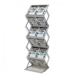 Présentoir sur pied pliable 6 niveaux, livré avec mallette Ft A3 L37x H152x P50 cm transparent