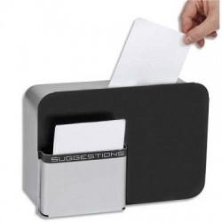 Boîte à idées IDBOX fermeture à clé, 2 fournies, compartiment fiches L28 x H19 x P10,5 cm gris