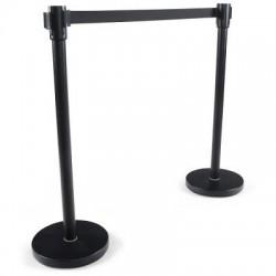 Kit de 2 poteaux noirs Reco + sangle noire de 2 métres avec frein Base D32 cm, hauteur 91 cm