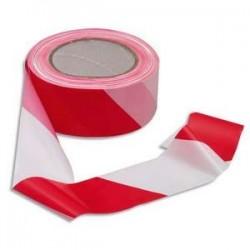 Ruban non adhésif rouge et blanc 100m x 5cm