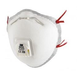 Boîte de 10 Masques coque 8833 classification FFP3 R D à élastique rouge avec soupape respiratoire