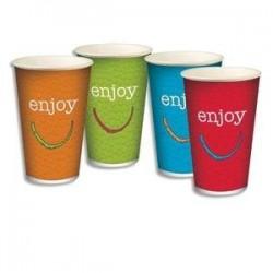 Sachet de 100 gobelets 4 coloris 25cl boissons froides en carton épais H. 11,75 cm Diam. 8 cm