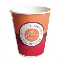Sachet de 100 gobelets15 cl boissons chaudes en carton épais café H8 cm, D7 cm orange rouge
