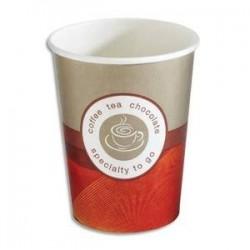 Sachet de 50 gobelets 20 cl boissons chaudes en carton épais café H9,15 cm, D8 cm beige rouge