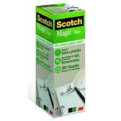 ADHESIF SCOTCH MAGIC VERT 810 RECYCLE 19MMx33M LOT DE 7+2 GRATUITS