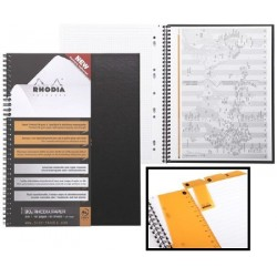 CAHIER NOTEBOOK RHODIACTIVE SPIRALE A4+ 22,5x29,7 160 pages 5x5 Petits carreaux polyopro