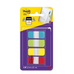 INDEX MARQUE-PAGES POST-IT RIGIDES ÉTROITS 15,8x38MM 4x10 INDEX COULEUR STANDARD