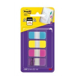 INDEX MARQUE-PAGES POST-IT RIGIDES ÉTROITS 15,8x38MM 4x10 INDEX COULEURS VIVES