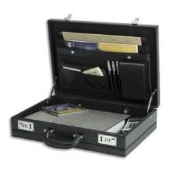 ATTACHE CASE PVC NOIR 2 COMPARTIMENTS DOUBLURE TISSU 44.5x32x10.5cm