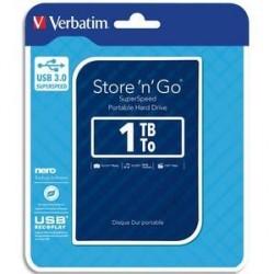 DISQUE DUR EXTERNE VERBATIM USB 3.0 STYLE N GO 2.5pouces 1To BLEU