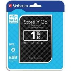 DISQUE DUR EXTERNE VERBATIM USB 3.0 STYLE N GO 2.5pouces 1To NOIR