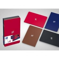 LOT DE 4 CARNETS OXFORD POCKETNOTE 9x14cm 48 Pages Ligné 6 Assortis classique