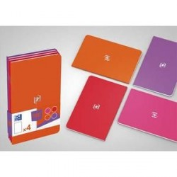 LOT DE 4 CARNETS OXFORD POCKETNOTE 9x14cm 48 Pages Ligné 6 Assortis féminin