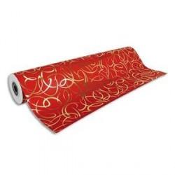 Rouleau de papier cadeau PREMIUM 80g . Spécial commercant : 50x0,7m. Rouge arabesque or