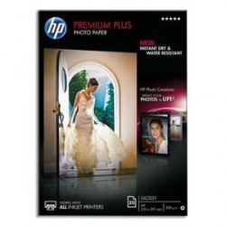 PAPIER PHOTO HP PREMIUM PLUS J.E 10X15CM 300g BRILLANT CR677A B/25