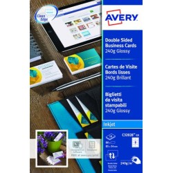 CARTES DE VISITE 85X54 B80 250G QUICK & CLEAN J.ENC.PHOTO AVERY C32028 RV°BRI