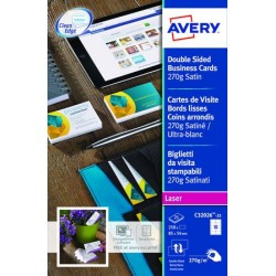 CARTES DE VISITE85X54 AVERY C32026 270G QUICK & CLEAN LASER BORDS LISSES 270 GR