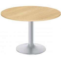 Table individuelle ronde Diam. 120 cm Chêne clair piétement gris alu