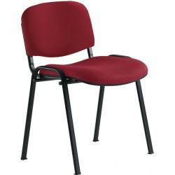Chaise 4 pieds tissu bordeau