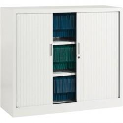Armoire basse à rideaux ARIV L. 100 x H 105 cm blanche