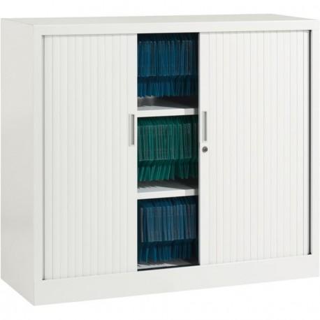 Armoire basse à rideaux ARIV L. 100 x H 105 cm blanche - SETICO