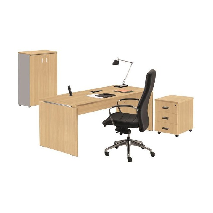 ensemble moka bureau caisson armoire ch ne clair setico. Black Bedroom Furniture Sets. Home Design Ideas