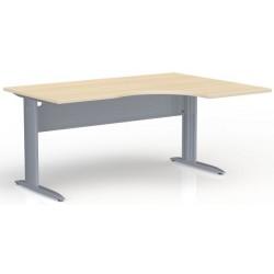 Bureau compact asymétrique 90° IDEAL L. 160 cm retour à droite chêne clair piétement alu
