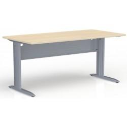 Table de bureau rectangulaire Chêne clair piétement gris alu P. 80 x L 160 cm