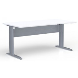 Table de bureau rectangulaire blanche piétement gris alu P. 80 x L 160 cm