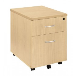 Caisson mobile Chêne clair 3 tiroirs poignées blanches