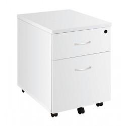 Caisson mobile Blanc 3 tiroirs poignées blanches
