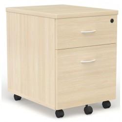 Caisson mobile Chêne clair 2 tiroirs dont 1 pour dossiers suspendus poignées blanches