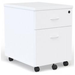 Caisson mobile Blanc 2 tiroirs dont 1 pour dossiers suspendus poignées blanches
