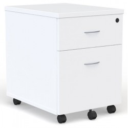Caisson mobile Blanc 2 tiroirs dont 1 pour dossiers suspendus poignées gris alu