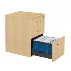 Caisson hauteur bureau 3 tiroirs profondeur 60 cm chêne clair poignées gris alu