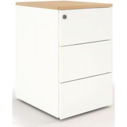 Caisson hauteur bureau 3 tiroirs Blanc finition chêne clair profondeur 60 cm