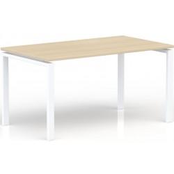 Bureau rectangulaire L.140 x P. 80 cm Chêne clair piétement Blanc