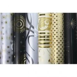 Lot de 30 Rouleaux papier cadeaux 80g 2mx0,7mm décors assortis noir/argent/or