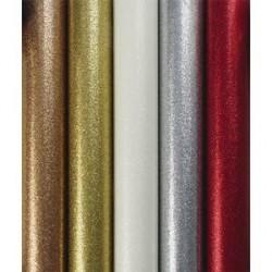 Lot de 35 Rouleaux de papier cadeau métallisé uni pailleté 70g. 1,5x0,7m. 5 coloris assortis