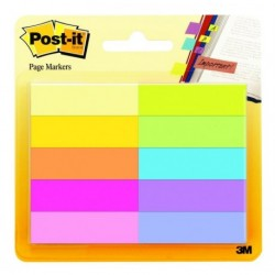 Marque-pages Post-it® Papier - 10 blocs de 50 feuilles - couleurs assorties BP9