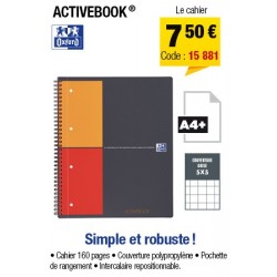 CAHIER ACTIVEBOOK A4+ OXFORD INTERNATIONAL PETITS CARREAUX 5x5
