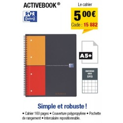 CAHIER ACTIVEBOOK A5+ OXFORD INTERNATIONAL PETITS CARREAUX 5x5