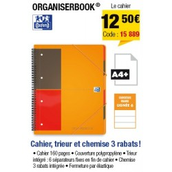 CAHIER ORGANISER BOOK A4+ OXFORD 80G 180 PAGES 4 TROUS LIGNE 6MM